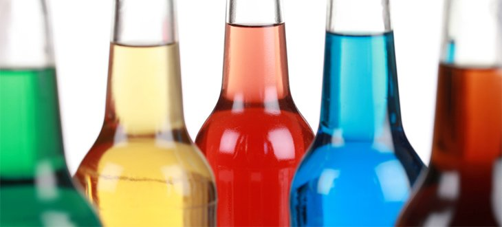 coloured Alcopops bottles