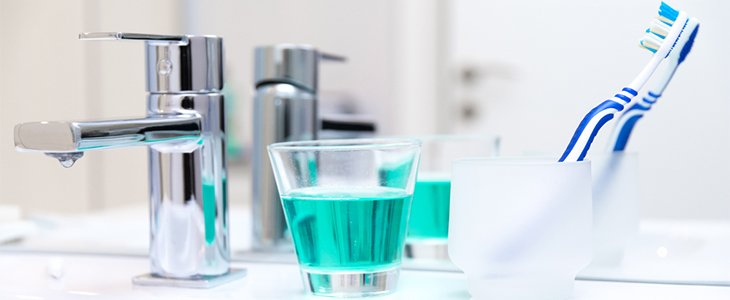toothbrush and mouthwash